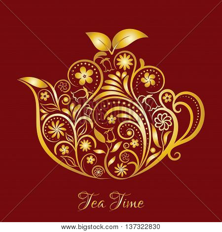 Vector Gold Floral Ornamental Teapot Over Dark Red. Zen art teapot style. Element for menu, cafe, restaurant, bar and tea house designs. Gold teapot flower design