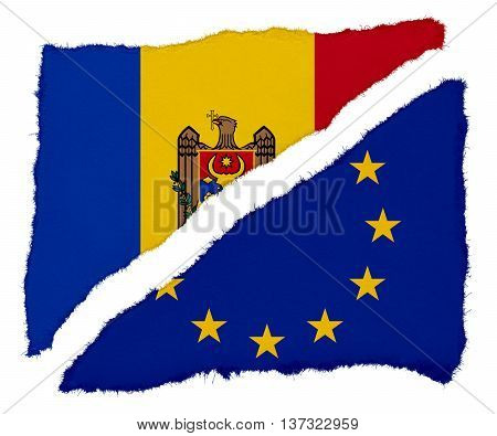 Moldovan And Eu Flag Torn Paper Scraps Isolated On White Background