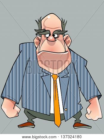 cartoon disgruntled man in a suit standing with fists