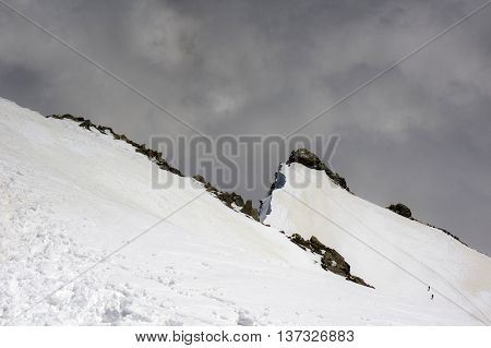 landscape from vincent pyramid summit in italy