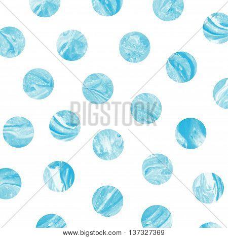 Blue Marble Polka Dot Watercolor Pattern.