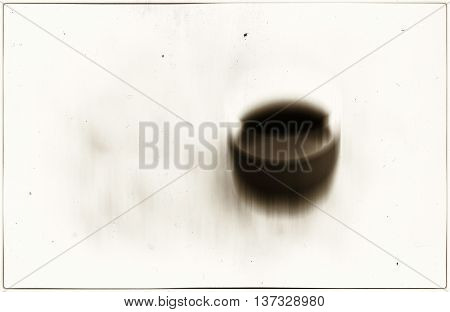Horizontal vivid sepia coffee cup blur abstraction background