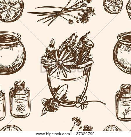 Ayurveda vector Hand drawn seamless pattern Healthy lifestyle Harmony with nature