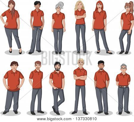 Business cartoon young people wearing red polo-style shirt
