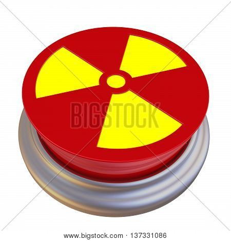 The button labeled with sign of radioactive hazard. Red button with a picture of the sign of radioactive danger. Isolated. 3D Illustration