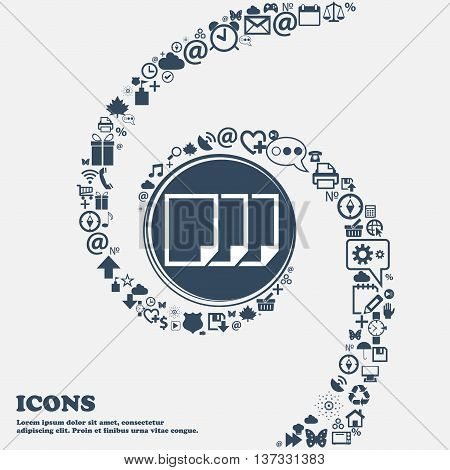 Copy File Sign Icon. Duplicate Document Symbol In The Center. Around The Many Beautiful Symbols Twis