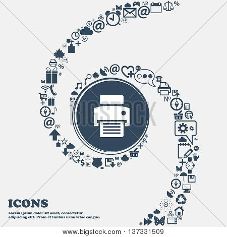 Fax, Printer Sign Icon In The Center. Around The Many Beautiful Symbols Twisted In A Spiral. You Can