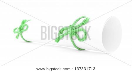 White paper scroll tied with cord green nodes pair isolated