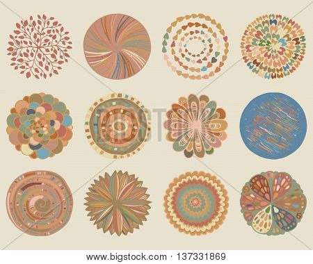 Vector set of beautiful deco mandalas. Circle abstract objects isolated on biege background. Decorative ethnic elements