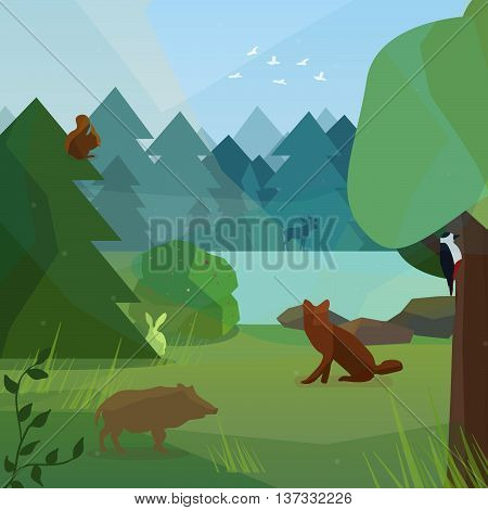 Wild forest in low polygon style. Vector illustration of forest animals in low polygon style. Boar woodpecker fox rabbit and elk vector illustration