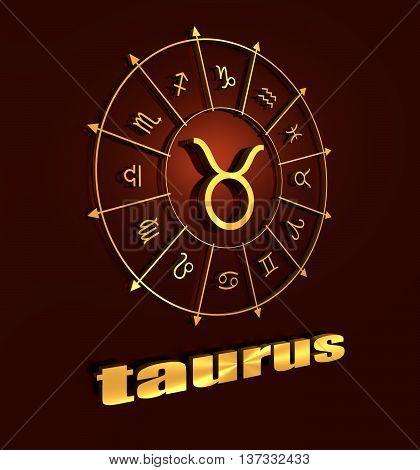 Bull astrology sign. Golden astrological symbol. 3D rendering