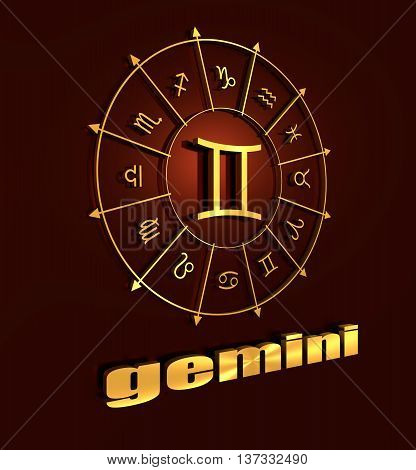 twins astrology sign. Yellow astrological symbol in the circle of others sings. 3D rendering