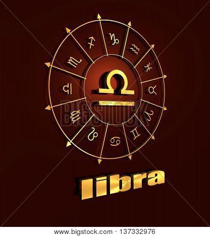 Scales astrology sign. Golden astrological symbol. 3D rendering. Gold insignia