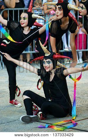 Montenegro, Herceg Novi - 04/06/2016: Group of funny clowns from Slovenia. 10 International Children's Carnival