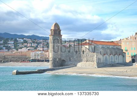 Collioure, France, holidays, church on the coast