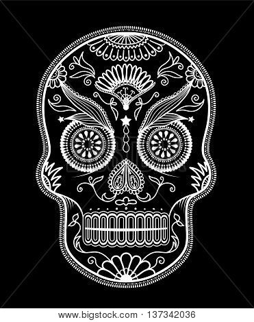 Sugar Skull day of the dead. Vector art