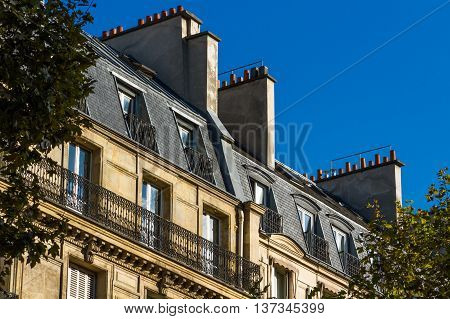 Old large frontage. In Paris France Europe.