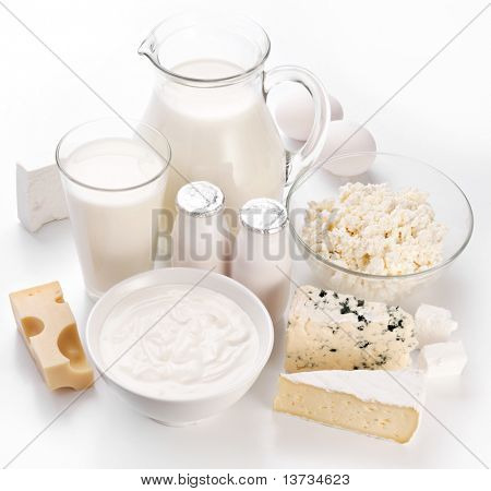 Protein products: cheese, cream, milk, eggs. On a white background.