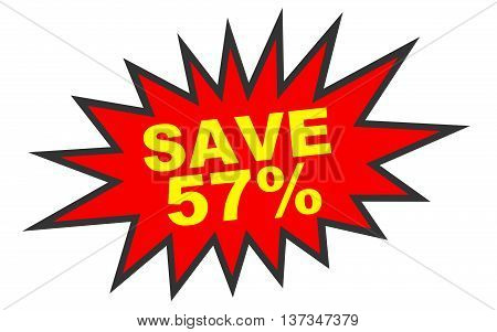 Discount 57 Percent Off. 3D Illustration On White Background.