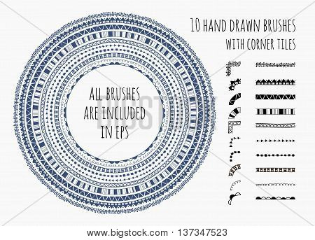 Vector set of ten hand drawn brushes with corner tiles. Pattern of different colors for frames, borders, dividers and design elements. Vector isolated illustration. Brushes are included in eps.