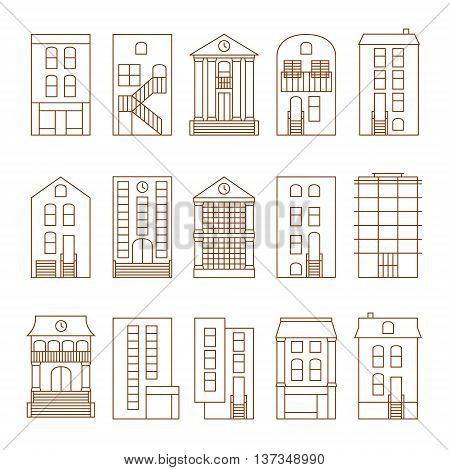 Flat thin line vector city buildings set. Isolated on white background. Downtown skyline constructor.