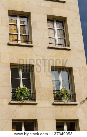 Old large frontage. Paris France in Europe.