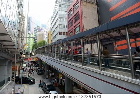 HONG KONG - NOV 9: Cochrane Road and Central Mid-Levels Escalator on Nov 9, 2015 in Hong Kong. Central Mid-Levels Escalator is the longest outdoor covered escalator system in the world.