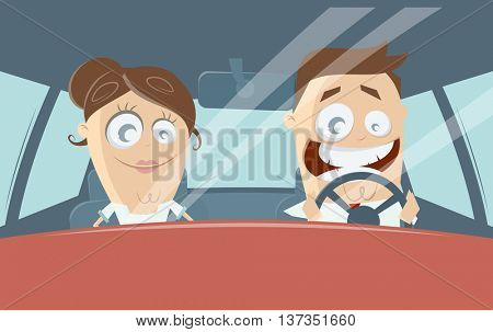 funny cartoon couple driving in a car