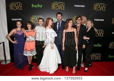 (L-R) Tracee Chimo, Andrea Martin, Cole Escola, Julie Klausner, Billy Eichner, Amy Poehler, James Urbaniak, Scott King & Debra Monk at 'Difficult People' premiere onJuly 30, 2015 in New York City.