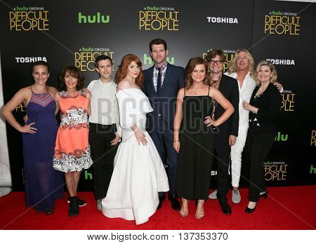 (L-R) Tracee Chimo, Andrea Martin, Cole Escola, Julie Klausner, Billy Eichner, Amy Poehler, James Urbaniak, Scott King & Debra Monk at 'Difficult People' premiere on July 30, 2015 in New York City.