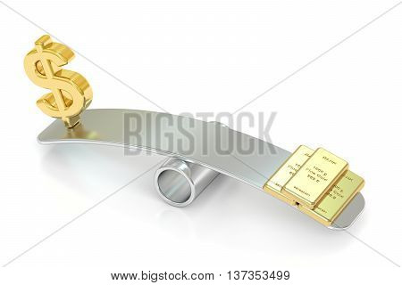 balance concept gold and dollar. 3D rendering isolated on white background