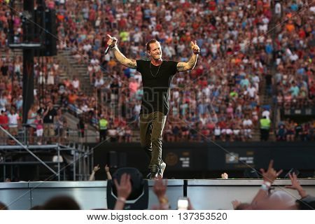 NASHVILLE-JUL 11: Country recording artist Tyler Hubbard of Florida Georgia Line performs during the 'Kick The Dust Up' Tour at Vanderbilt Stadium on July 11, 2015 in Nashville, Tennessee.