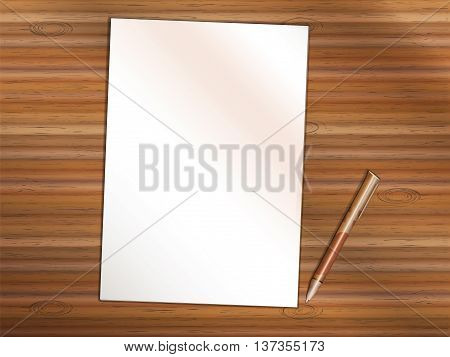 Blank sheet of white paper on wooden table. Brown premium rollerball pen near it. Copy space for Your custom printed or written text.