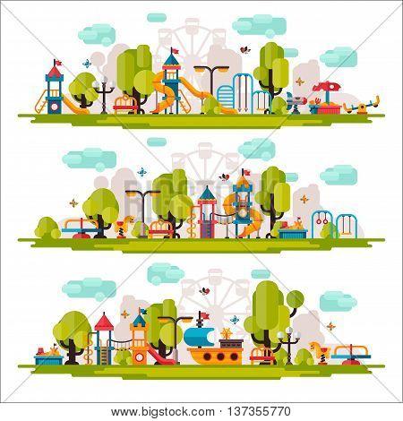 Kids playground. Swings sandpit sandbox bench tree slide. Children playground flat stock illustration with isolated elements on white background.