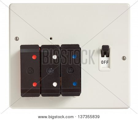 Old Fuse box with cover removed isolated on white with clipping path