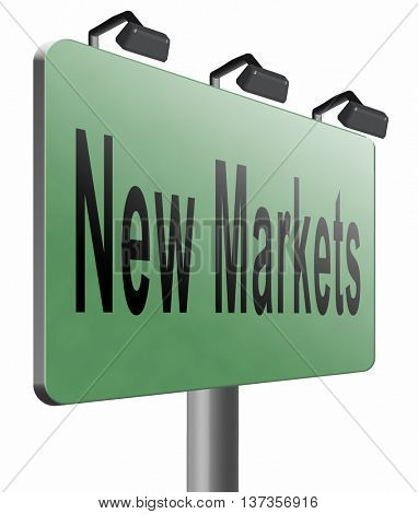 Emerging market new fast growing economy frantic economies, road sign billboard, 3D illustration isolated on white