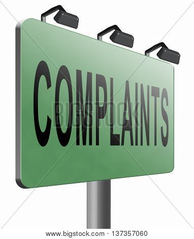 Complaints at customers service fill in complaint form and leave your opinion