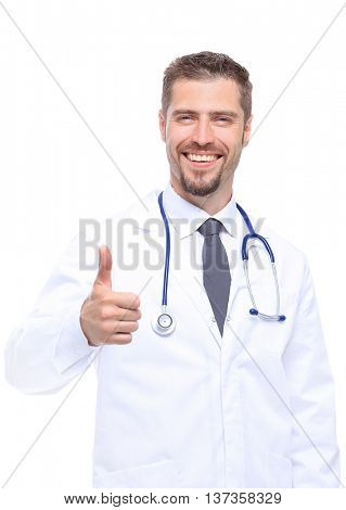 healthcare, profession medicine concept - smiling male doctor showing thumbs up over wtite background
