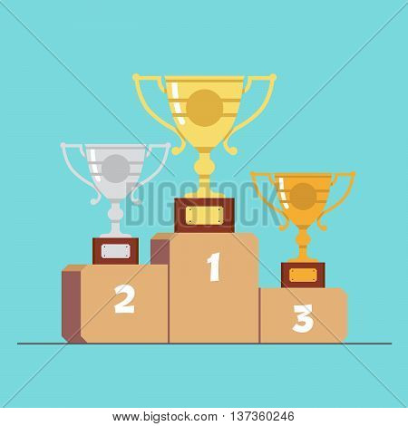 Gold silver and bronze medals on the podium . Cartoon flat vector illustration