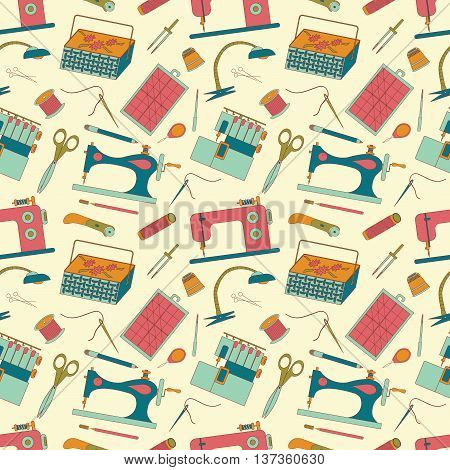 Seamless pattern of sewing tools icons. Sewing machines overlock machine sewing implements and accessories.