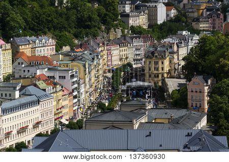Karlovy Vary, Czech Republic - July 3: People Walk On Streets During Karlovy Vary International Film