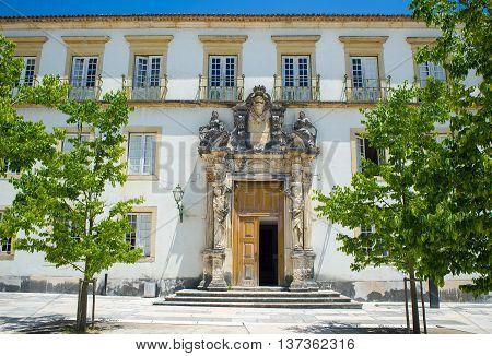 Sao Pedro college facade in Patio das Escolas courtyard of the Coimbra University. Portugal.