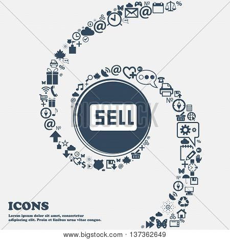 Sell, Contributor Earnings Icon Sign In The Center. Around The Many Beautiful Symbols Twisted In A S