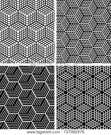 Seamless op art patterns. Vector art.
