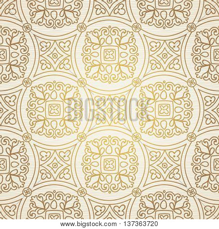 Vintage seamless background with lacy ornament. Ornament in east style. Light golden pattern. It can be used for wallpaper pattern fills web page background surface textures classic fabric.