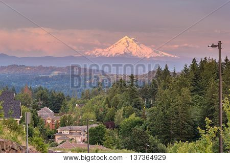 Mount Hood evening alpenglow during sunset from Happy Valley Oregon residential neighborhood in Clackamas County