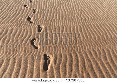 Footprints On A Sand Dunes Desert