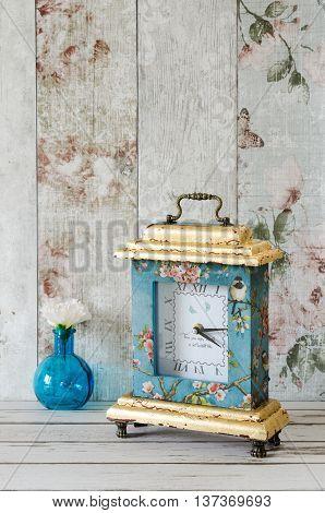 Gilded Decoupaged Clock