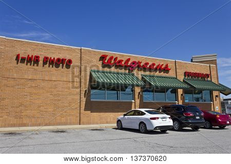 Indianapolis - Circa July 2016: Walgreens Retail Location. Walgreens announced its plans to acquire Rite Aid in a deal worth $17.2 billion II