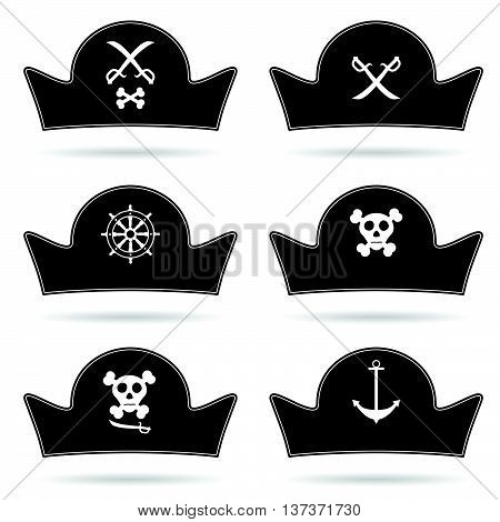 Pirate Hat Set In Black Illustration